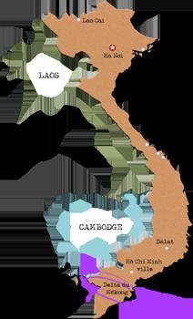 carte du vietnam delta mekong.