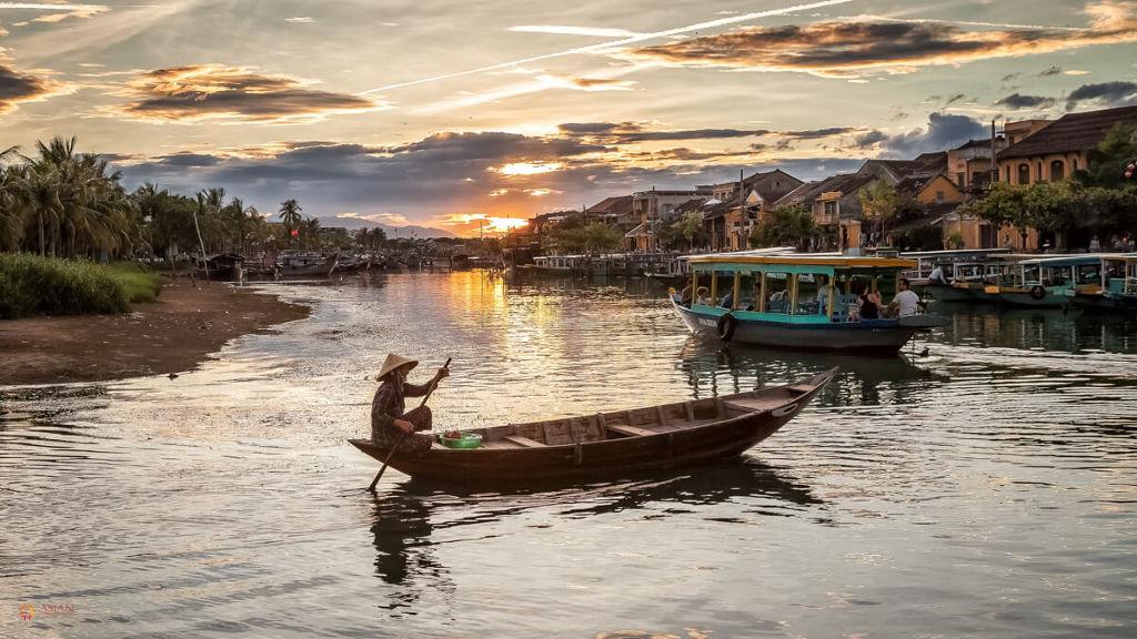 Rivière sur les bords de Hoi An au Vietnam.