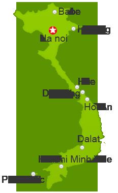 Carte des principales villes du Vietnam.
